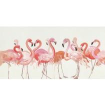 25 X 55 Pink Egret Oil Paint Wall Decor
