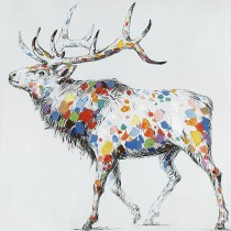 32 X 32 Color Deer Collection II Oil Painting Wall Decor