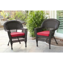 Espresso Wicker Chair With Brick Red Cushion - Set of 4