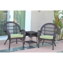 3pc Santa Maria Espresso Wicker Chair Set - Sage Green Cushions