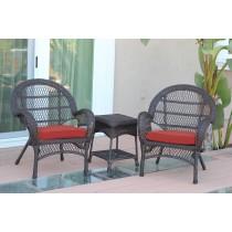 3pc Santa Maria Espresso Wicker Chair Set - Brick Red Cushions