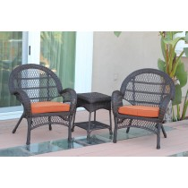 3pc Santa Maria Espresso Wicker Chair Set - Orange Cushions
