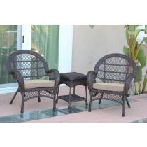 3pc Santa Maria Espresso Wicker Chair Set - Tan Cushions