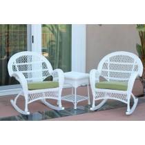 3pc Santa Maria White Rocker Wicker Chair Set - Sage Green Cushions