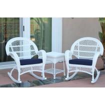 3pc Santa Maria White Rocker Wicker Chair Set - Midnight Blue Cushions