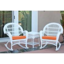 3pc Santa Maria White Rocker Wicker Chair Set - Orange Cushions
