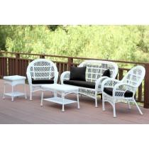 5pc Santa Maria White Wicker Conversation Set - Black Cushion