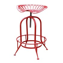 Antique Red Metal Wire Counter Height Stool