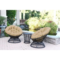 Papasan Espresso Wicker Swivel Chair and Table Set with Tan Cushion