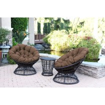 Papasan Espresso Wicker Swivel Chair and Table Set with Brown Cushion