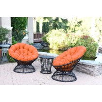 Papasan Espresso Wicker Swivel Chair and Table Set with Orange Cushions