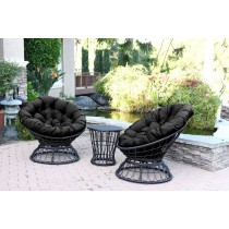 Papasan Espresso Wicker Swivel Chair and Table Set with Black Cushions