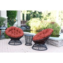 Papasan Espresso Wicker Swivel Chair and Table Set with Red Cushions