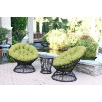 Papasan Espresso Wicker Swivel Chair and Table Set with Green Cushions