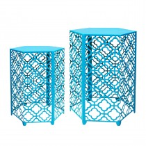 Set of 2 Hexagon Metal Side Table - Turquoise