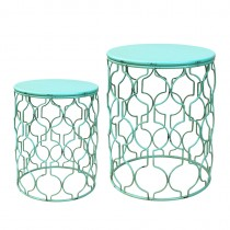 Set of 2 Round Metal Side Table
