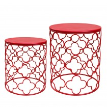 Set of 2 Round Metal Side Table - Red