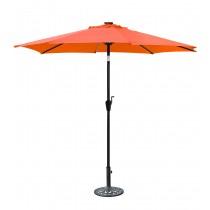 9 FT Aluminum Umbrella w/ Crank and Solar Guide Tubes - Black Pole/Orange Fabric