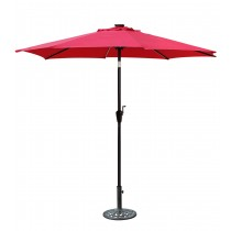 9 FT Aluminum Umbrella w/ Crank and Solar Guide Tubes - Brown Pole/Red Fabric