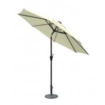 9 FT Aluminum Umbrella w/ Crank and Solar Guide Tubes - Brown Pole/Tan Fabric
