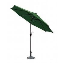 9 FT Aluminum Umbrella w/ Crank and Solar Guide Tubes - Brown Pole/Green Fabric