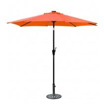 9 FT Aluminum Umbrella w/ Crank and Solar Guide Tubes - Brown Pole/Orange Fabric
