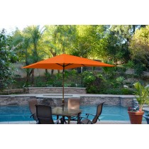 6.5' x 10' Aluminum Patio Market Umbrella Tilt w/ Crank - Orange Fabric/Champagne  Pole
