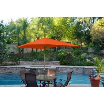 6.5' x 10' Aluminum Patio Market Umbrella Tilt w/ Crank - Orange Fabric/Bronze Pole