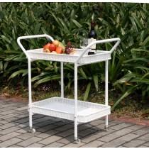 White Wicker Serving Cart