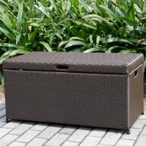 Espresso Wicker Patio Furniture Storage Deck Box