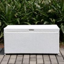 White Wicker Patio Furniture Storage Deck Box