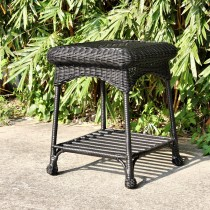 Outdoor Black Wicker Patio Furniture End Table