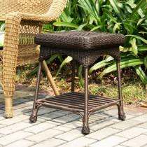 Outdoor Espresso Wicker Patio Furniture End Table