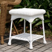 Outdoor White Wicker Patio Furniture End Table
