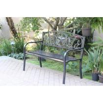 """50""""L Star Curved Back Steel Park Bench"""