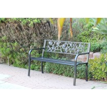 "50""L Flowers Curved Back Steel Park Bench"
