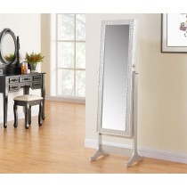 "58"" Silver Jewelry Mirror with Cabinet"