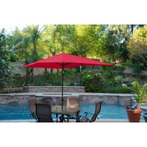 6.5' x 10' Aluminum Patio Market Umbrella Tilt w/ Crank - Red Fabric/Black Pole
