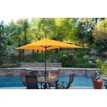 6.5' x 10' Aluminum Patio Market Umbrella Tilt w/ Crank - Yellow Fabric/Black Pole