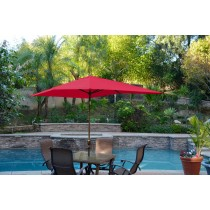6.5' x 10' Aluminum Patio Market Umbrella Tilt w/ Crank - Red Fabric/Champagne  Pole