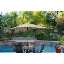 6.5' x 10' Aluminum Patio Market Umbrella Tilt w/ Crank - Tan Fabric/Champagne  Pole
