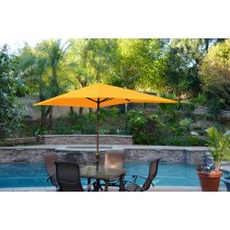 6.5' x 10' Aluminum Patio Market Umbrella Tilt w/ Crank - Yellow Fabric/Champagne  Pole