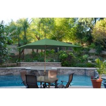 6.5' x 10' Aluminum Patio Market Umbrella Tilt w/ Crank - Green Fabric/Bronze Pole