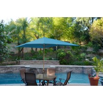 6.5' x 10' Aluminum Patio Market Umbrella Tilt w/ Crank - Turquoise Fabric/Bronze Pole