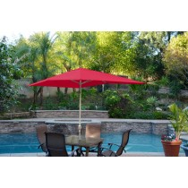 6.5' x 10' Aluminum Patio Market Umbrella Tilt w/ Crank - Red Fabric/Grey Pole