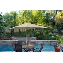 6.5' x 10' Aluminum Patio Market Umbrella Tilt w/ Crank - Tan Fabric/Grey Pole
