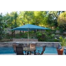 6.5' x 10' Aluminum Patio Market Umbrella Tilt w/ Crank - Turquoise Fabric/Grey Pole