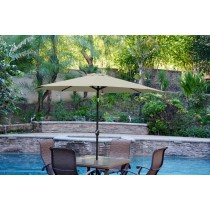 6.5' x 10' Aluminum Patio Market Umbrella Tilt w/ Crank - Tan Fabric/Black Pole