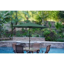 6.5' x 10' Aluminum Patio Market Umbrella Tilt w/ Crank - Green Fabric/Black Pole