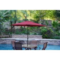 6.5' x 10' Aluminum Patio Market Umbrella Tilt w/ Crank - Burgundy Fabric/Black Pole
